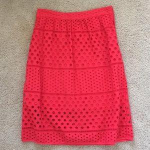 Loft A-line red skirt